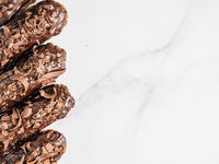 Healthy chocolate eclairs, copy space right