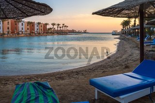 View of a lagoon of the Red Sea at sunrise