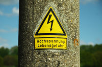 Warning sign before driven high voltage