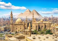 Mosque and pyramids