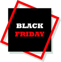 Vector illustration Typography composition with lettering of Black Friday in frame on dark background. Special offer.