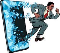 african businessman punches the screen Phone gadget smartphone. Online Internet application service program
