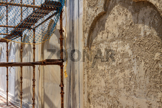 Details of Taj Mahal: Close-up restoration works of Motifs, Fresco and inscription on the wall. UNESCO World Heritage in Agra.