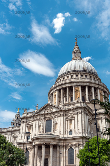 The famous St. Pauls Cathedral in London on a sunny day