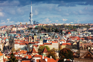 view of old town with a television tower, Prague