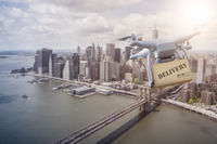 Multicopter flying over New York City