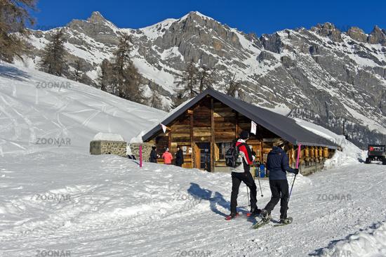 Mountain inn Loutze in winter, Ovronnaz, Valais, Switzerland