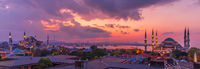 Istanbul sunset, beautiful panorama of the Hagia Sophia and the Blue Mosque, Turkey