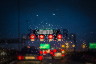 Defocus road and cars at night. Night city bokeh. Night city background defocus