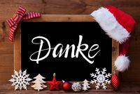 Chalkboard, Christmas Decoration, Red Ball, Danke Means Thank You