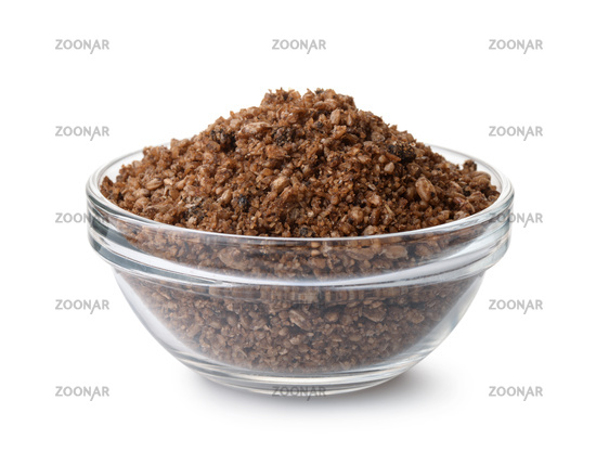 Glass bowl  of fish feeding mix