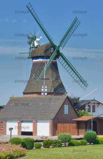 Windmill of Suederhafen on Nordstrand Peninsula,North sea,North Frisia,Germany