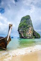 Long tail boat on Phra Nang Beach, Krabi, Thailand