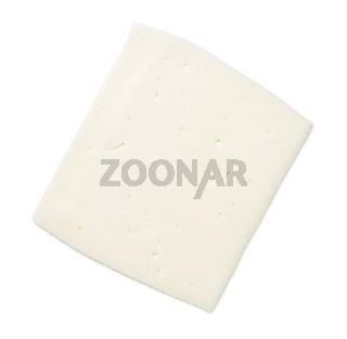 Goat Cheese Slice Isolated On White Background