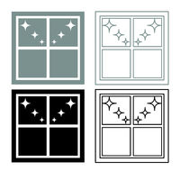Window overlooking the night stars icon outline set grey black color