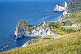 Jurassic Coast in der Nähe von Lulworth in der Grafschaft Dorset in Südengland