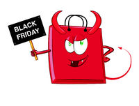 Shopping evil  bag  cartoon character mascot . illustration