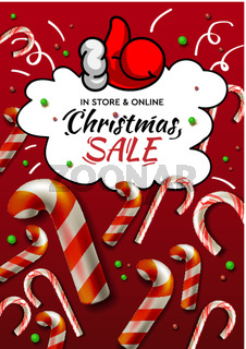Christmas Sale banner, vector template with Christmas candy cane for online holiday shopping.