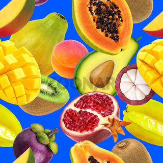 Fruits seamless pattern. Falling exotic fruits isolated on blue background