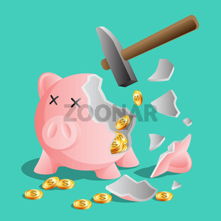 Broken pink piggy bank by hammer, bright gold coins
