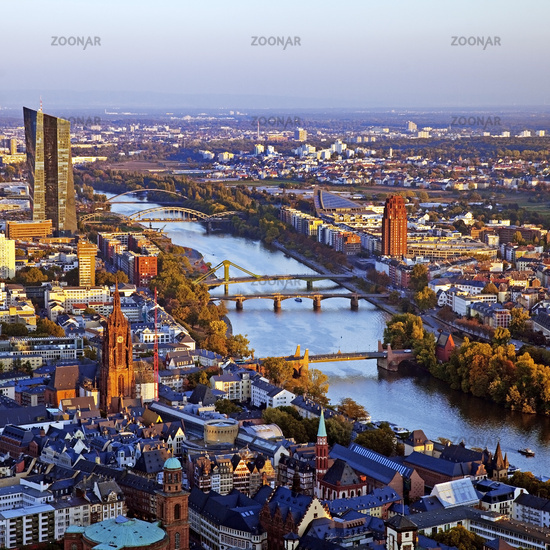 City view to the New European Central Bank and the Main Island, Frankfurt am Main, Germany, Europe