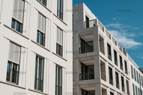 modern apartment building facade, real estate exterior