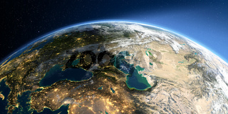 Detailed Earth. Europe. Caucasus and the Caspian Sea