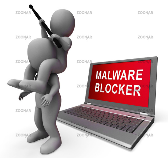 Malware Blocker Website Trojan Protection 3d Rendering