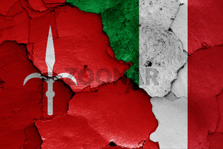 flags of Trieste and Italy painted on cracked wall