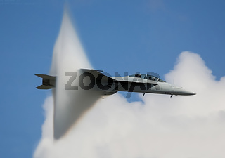 The fighter overcomes the sound barrier