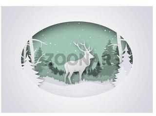 Winterlicher Papierart Weihnachtsgruß mit Rotwild im Wald