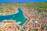 Bay of Vela Luka on Korcula island aerial view