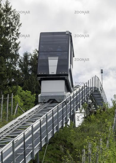 Elevator to the ski jump of ski jumps arena, Oberstdorf, Allgäu, may, Germany, Europe