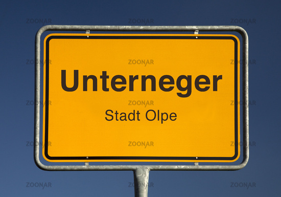 town entrance sign, a district of the city of Olpe in North Rhine-Westphalia, Germany, Europe
