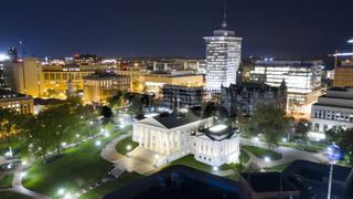 Night Lights Illuminate the Virgina Statehouse in Downtown Richmond Virginia