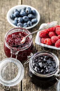 Blueberry and raspberry jam.