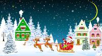 Santa on a sleigh in Christmas