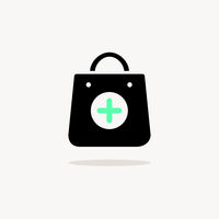 Shopping pharmacy bag. Icon with shadow on a beige background. Commercial vector illustration