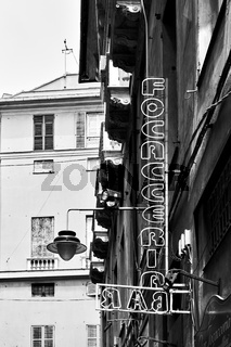 Focacceria - Bar sign in the street in Genoa