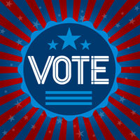Vote badge with american colors. Presidential elections
