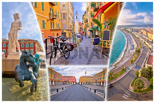 Nice. City of Nice tourist postcard of famous landmarks, French riviera or Cote d Azur