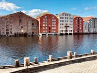 Famous wooden storage houses in Trondheim, Norway