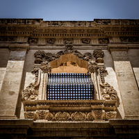 NOTO, ITALY - traditional window design in the monastery close to San Francesco D'Assisi church