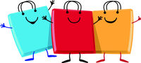 happy group of Shopping bag  cartoon character mascot
