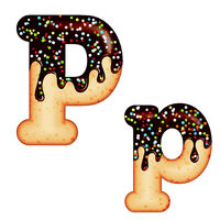 Tempting typography. Font design. 3D donut letter P glazed with chocolate cream and candy