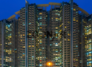 Hong Kong - South West - Tower Blocks at Night