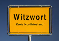 City entrance sign of Witzwort, municipality in the district of Nordfriesland, Germany, Europe