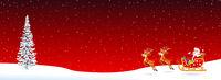 Santa Claus sleigh fir tree on red