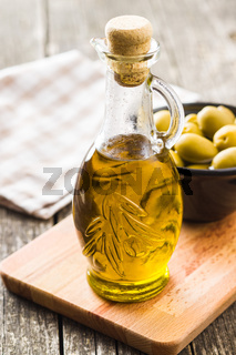 Olive oil in bottle.