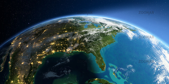 Detailed Earth. North America. Gulf of Mexico and Florida